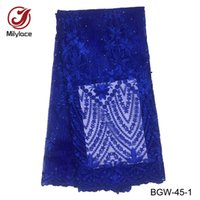 dantel kumaş fiyatı toptan satış-Toptan fiyat boncuklu fransız dantel kumaş 5 yards başına lot parti elbise dantel kumaş taşlar afrika dantel kumaş BGW-45