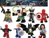 figura de batman brinquedos venda por atacado-Blocos de super-herói Batman Deadpool Logan capitão figuras crianças produções canto brinquedos presentes blocos de construção Vingadores