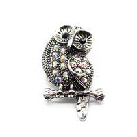 metal yaka düğmesi baykuş toptan satış-3 adet / grup Metal Büyük Vintage Renkli Kristal Baykuş Snap Düğmesi Takılar Fit 18mm / 20mm Snap Düğmesi Bilezik Kolye DIY Takı