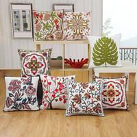 çin dekoratif yastık toptan satış-Çin tarzı Havlu nakış Çiçekler Minder Kapak Dekoratif Yastık Kılıfı Sandalye Koltuk ve Bel Kare Yastık Kapak Ev Oturma
