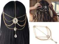 Wholesale bridal gold hair chains resale online - 2018 Wedding Hair Accessories For Bohemian Wedding Dresses Head Chain Bling Crystal Rhinestones Silver And Gold Bridal Accessories