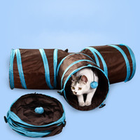 Wholesale Pet Tunnels Cats - Funny Cat Tunnel Toy Foldable 3 Holes Dog House Toys Creative Pet Training Plaything High Quality 23yl C