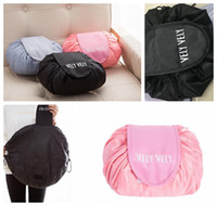 Wholesale pouch online - Vely Vely Creative Lazy Cosmetic Bag Large Capacity Portable Drawstring Storage t Magic Travel Pouch Simple Cosmetic Bag KKA4054