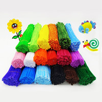 Wholesale crafting materials - 100pcs set Baby Educational Toy Montessori Materials Chenille Colorful Pipe Cleaner Intelligence Toys Children Handmade DIY Craft