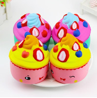 Wholesale fun keychains - New 10CM Strawberry Ice Cream Squishy Slow Rising 10CM Jumbo Fruit Face Cake Cute Phone Straps Soft Scented Bread Kid Fun Toys Gift