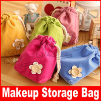 Wholesale ladies flower pouch resale online - Makeup Bag Pencil Case flower Women Cosmetic Bag Travel Bags Ladies Organizer Pouch Drawstring Bag Colors
