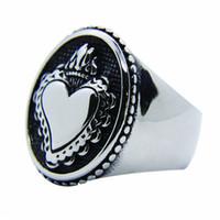 anel do amante do menino venda por atacado-1 pc Mais Recente Coroa Anel Do Coração Do Amor Aço Inoxidável 316L Popular Moda Jóias Motociclista Meninos Meninos Amantes Anel polonês
