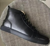 Wholesale Womens Waterproof Boots - 2018 New Mens Womens Black Sheepskin Leather High Top Re Bottom Sneakers,Brand Design Flat Boots Sneakers Casual Shoes 35-47 Drop Shipping