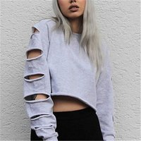 Wholesale Womens Long Sleeve Crop Tops - Autumn New Womens Casual Long Sleeve Crop Top Hoodie Sweatshirt Jumper Pullover Tops
