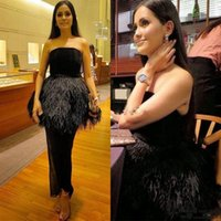 Wholesale strapless feather cocktail dresses - Ashi studio Black Velvet Prom Dresses Strapless feather Peplum Mermaid Evening Gowns Zipper Back Ankle Length Formal Cocktail Party Dress