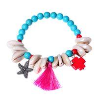 Wholesale vintage lucite bangle bracelet - Vintage Ethnic shell turquoise beads Charm Bracelets Boho Statement colorful tassel Bracelet Bangles for Women Jewelry adjustable wholesale