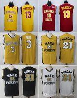 camisa de basquete amarelo vermelho venda por atacado-Wake Forest Chris # 3 Paul Arizona Estado Sun Devils James 13 Harden Vermelho Preto Branco Tim 21 Duncan Amarelo Basquete Universitários Jerseys