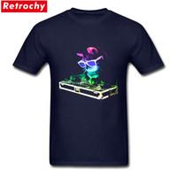 camisetas iluminadas al por mayor-2017 Nuevo Summer Neon HOUSE CAT Rainbow DJ Kitty Light Up T Shirts para hombres Casual manga corta de algodón camiseta de impresión para Guy