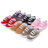 bebé caminando corbata zapatos al por mayor-Nueva moda T-tied Canvas Soft-Soled zapatos para bebés Todd All Season recién nacidos cordones-Rubber Baby Learning Walking Shoes