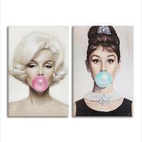 audrey hepburn posters al por mayor-Marilyn Monroe Audrey Hepburn Cotizaciones lienzos de pintura de la lona Posters Wall Pictures for Living Room Arte de la pared Decoración para el hogar Sin marco Y18102209