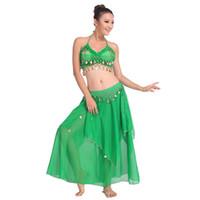 gelber tanzrock kurz großhandel-Grünes Bauchtanz Leistung orientalische Bauchtanz Kleidung 2pieces Anzug Top Shirt + Rock Dance Kostüm Set