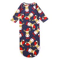 bogenknoten taschen großhandel-Neugeborenes Baby-Schlafsack-Weihnachtselche-Bogen-Punkt-Sankt-Hut-Karikatur druckte Mädchen-Jungen-Designer-Nachthemden-Bindung verknotete lange Hülsen-Winter-Pyjama