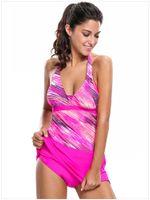 9f2895a41 Resort de mujer Spa Sexy Bikini Estampado con cuello en V profundo Tankini  Top y falda de baño Traje de baño de gran tamaño S a XXXL