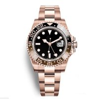 золотые мужчины оптовых-Роскошные новые мужские GMT II автоматические часы из нержавеющей стали черный красный керамический круг Мастер 40 мм мужские часы AAA Reloj розовое золото мужские часы