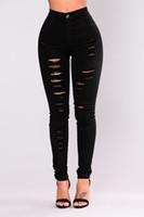 jeans taille haute achat en gros de-New Fashion Womens maigre crayon pantalon taille haute pantalon stretch femmes élégantes trou skinny pantalon pec long jean