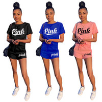 Wholesale ladies tennis clothes - Love PINK Women Victoria Shorts T-shirts Sports Suits Outfit Print Letter Short Pants Tees Tops Tracksuit Lady Secret Shorts Set Gym Clothes