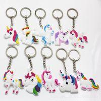 Wholesale pendants designs cute for sale - Group buy Cartoon Soft PVC Unicorn Style Key Buckle Creative Rainbow Horse Pegasus Design Kers Chain Charm Cute Funny Pendants Hot Sale xh Z
