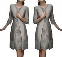 Wholesale navy suit shirt - Vintage Carla Ruiz Knee Length Mother Off The Bride Groom Plus Size Suits Long Jacket Appliques Lace Wedding Guest Dresses HY289
