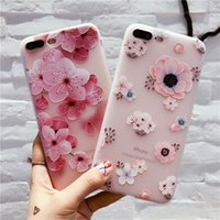 Wholesale Iphone Floral Cases - Flower Pattern Case For iPhone 6 6s Case Soft Silicone Floral Protect Soft Full Cover For iPhone 7 8 Plus X Phone Cases
