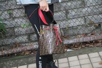 çift kova toptan satış-Toptan-Kadın Kova Çanta Büyük Çanta Tasarımcısı Marka Çanta Moda Çift F Moda Cep Göğüs Çantası