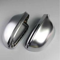 chrom rückspiegel großhandel-1 Paar matt verchromte Rückspiegelabdeckung Schutzkappe für Audi B8 A4 A5 A6 S4 RS4 S6 RS6 Autospiegelabdeckung Autoschnur Neu