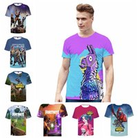 Wholesale 3d nylon - Fortnite Game Print 3D T-shirts Student Mens Casual Summer Cotton Short Sleeved Game Funny Tee Tops 17 Styles EEA491 5PCS