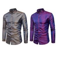 glänzender knopf großhandel-Männer Hemd Mode Nachtclub Glanz Langarm Umlegekragen Casual Button-Down Tops PLUS GRÖßE M-3XL