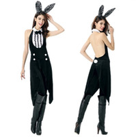 Wholesale New Arrival Black Women Cosplay Costume Sexy Backless Bunny Costumes Women Halloween Rabbit Costumes For Party Clothing