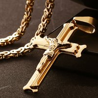 Discount gold cross necklace charm - 316L Stainless Steel Jesuss Cross Necklace Trendy Men Flat Byzantine Jewelry Charm Pendants Crucifixion of Jesus Jewelry Gift