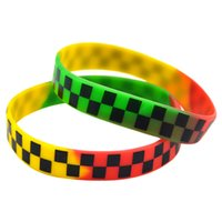 sterling silber mexikanischen armbänder großhandel-OneBandaHouse 50 Teile / los Punk Style Hip Hop Band Armband Gedruckt Kariertes Logo Silikon Armband