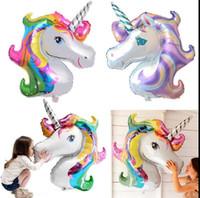 Wholesale Inflatable Cartoon Toys - Aluminum Foil Balloon 110*88cm for Birthday Party 3PCS Cartoon Unicorn rainbow polly Inflatable Ballon Gifts BBA66