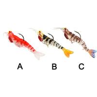 señuelos de camarón de plomo al por mayor-1 UNIDS Pesca de Camarones Suave Señuelos Artificiales Camarón Cebos 7g / 13g / 19g Señuelo Biónico Cebo Suave Con Peso de Plomo y Gancho 2508200