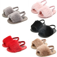 Wholesale first fur color for sale - Group buy Sweet Baby Girls Fur Sandals Kids Solid Soft Fur Slipper first walker Newborn Infant Children Casual Shoes