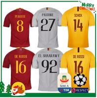 Wholesale roma football jersey online - 18 ROME home away soccer TOTTI ROMA DZEKO Sports DE ROSSI Jersey EL SHAARAWY NAINGGOLAN Football shirt