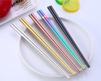 parlak metal toptan satış-Parlak Titanyum Kaplama Altın Yüksek dereceli Çubuklarını, Renkli Paslanmaz Çelik Çubuklarını, Kaliteli Altın Gökkuşağı Kare ChopsticksSN1164