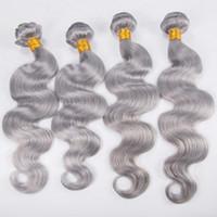 Wholesale human hair weaves for black women resale online - Body Wave Bundles Virgin Silver Grey Hair Weave Grey Hair Weaves Human Virgin Hair Weft For Black Women
