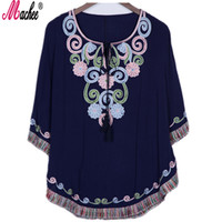 mexican long dresses UK - 2018 New Summer Vintage Female Ethnic Mexican Floral Loose Shirt Tops Hippie Boho Cotton Long Woman Embroidery Blouse Dress