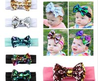 Wholesale beautiful hair bows - New Fashion Beautiful Baby Sequin HeadBand Colorful Flexible Bow Hair Accessories Kids Lovely Gifts Free Shipping