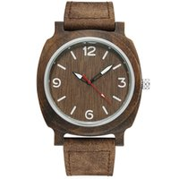 черная ручная лента оптовых-Natural Wood Watches For Male Arabic Numerals Genuine Leather Band Quartz Wrist Watch Black Hands  Watch Men Women 2017