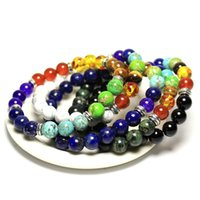 Wholesale agate type - 1 PCS Mix 7 Color Type Black Natural 7 Chakra Healing Balance 8 mm Stone Beads Bracelet For Men Women Reiki Prayer Stones 19 mm