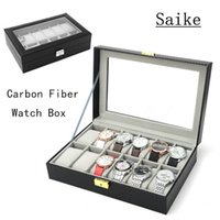 Wholesale fiber carbon keys case - Carbon Fiber 12 Grids Brand Watche Box With Key Black Leather Watch Display Cases Top Fashion Watch Storage Jewelry Box D026