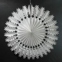 Wholesale paper cut outs resale online - Eco Friendly cm cm Tissue Paper Snowflake Fans Party Decorations Large Cut Out Paper Fans Hanging Christmas Decoration For Party