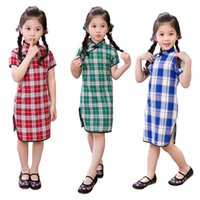 Wholesale Chinese Traditional Style Dress - Hooyi Cotton Baby Girls Dress Plaid Chinese Traditional Girl Clothes Qipao Dresses Summer Children Cheongsam Chi-pao Vestidos Skirts