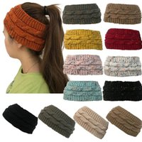 Wholesale colorful hair colors online - Knitted Headband Colors Colorful Confetti Winter Warm Cable Knit Earflaps Cap Hair Band Twist Headbands Headwear OOA5459