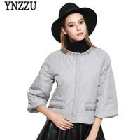 Wholesale parka crystal - YNZZU New Fashion 2017 Women Winter Jacket Crystal Three Quarter Sleeves Loose Women Parkas Short Style Female Jacket YO369
